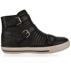 Ash High Top Trainers ($115) ❤ liked on Polyvore featuring shoes, sneakers, black, leather shoes, black high top shoes, black high-top sneakers, ash shoes and black high tops