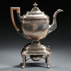 Joseph Lownes Coin Silver Kettle on Associated Sterling Silver Stand