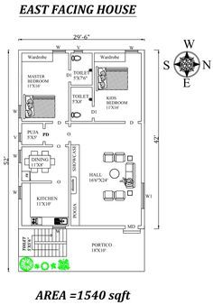 Autocad Drawing file shows Little House Plans, 2bhk House Plan, Model House Plan, Duplex House Plans, House Layout Plans, Dream House Plans, 30x50 House Plans, House Pillars, West Facing House