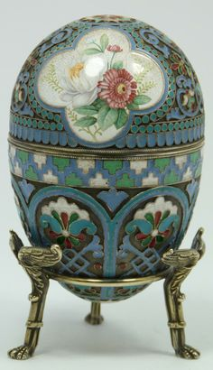 Imperial Russian Silvr Emameled Egg ...,Ovchinnikov