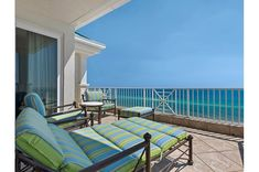 Gulf-front balcony at Inn at Crystal Beach Destin Resorts, Outdoor Furniture Sets, Outdoor Decor, Dream Vacations, Sun Lounger, Balcony, Condo, Florida, Crystal