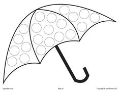 FREE Umbrella Do-A-Dot Printable! Spring dot coloring pages like this are perfect for toddlers and preschoolers to practice fine motor skills and more! Get all 12 spring Do A Dot Printables for FREE here --> https://www.mpmschoolsupplies.com/ideas/7936/12-free-spring-do-a-dot-printables/