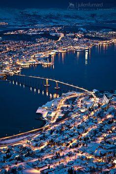 Fine art travel photography of Tromsø by night before arctic winter in Norway by Julien Fumard