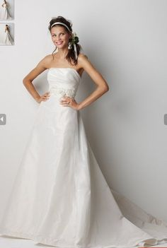 Taffeta A-line Wedding Gown Features Court Train and Sash