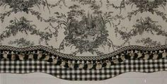 waverly french country black white toile tassle gingham valance