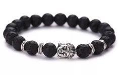 pulsera brazalete buda león piedra volcanica  hootgadget Cute Bracelets, Gemstone Bracelets, Bracelets For Men, Jewelry Bracelets, Jewelery, Beaded Jewelry, Ceramic Jewelry, Religious Jewelry, Bracelet Designs