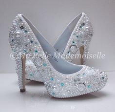 Cinderella Pearl & Crystal Blue Wedding by MademoiselleShoes