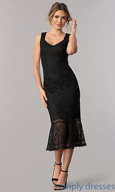 Shop midi-length black lace wedding-guest dresses at Simply Dresses. Semi-formal sheath party dresses under $150 with v-necks and flounce ruffles.