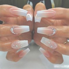 20 Worth Trying Long Stiletto Nails Designs - Stylendesigns awesome 25 Fancy White Coffin Nails - Bright and Fasionable Designs Long Stiletto Nails, White Coffin Nails, Long Acrylic Nails, White Nails, Long Nails, Coffin Ombre Nails, Coffin Shape Nails, Clear Acrylic, Diamond Nail Designs