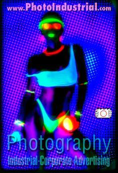 Woman wearing bikini. Photo with ultraviolet light, UV fluorescence.