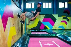 How much joy can there be in jumping? Head to Bounce trampoline park in Al Quoz and find out! Jump, spring and leap across more than 100 interconnected trampolines housed in the huge, colourful space. Trampoline House, Indoor Trampoline, Jump Park, Warehouse Home, Indoor Play Areas, Visit Dubai, Play Centre, Gym Design, Indoor Playground