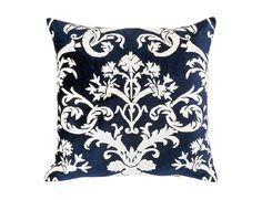 Mackie Square Pillow Navy Velvet / White Linen (24 x 24) L133ASMW-L