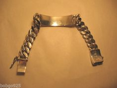Curb-Chain-ID-Bracelet-Mexico-925-Vintage-Heavy-Chain-Mexican-Sterling-Silver