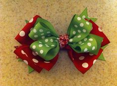 Christmas lime green and red polka dot stacked hairbow w/ tags in back- great for the holidays on Etsy, $3.50