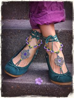 Purple FAIRY BAREFOOT sandals Green Tribal TOE anklets by GPyoga, $76.00