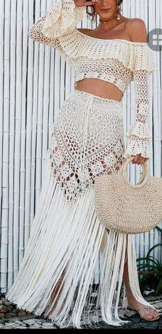 Crochet Skirts, Crochet Clothes, Crochet Lace, Crochet Top Outfit, Crochet Cardigan, Crochet Wedding Dresses, Wedding Dress Trends, Knitted Poncho, Crochet Designs