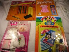 1980's BARBIE SKIPPER MATTEL, SHILLMAN, FLAIR OUTFITS SEALED ON CARD Lot of 4…