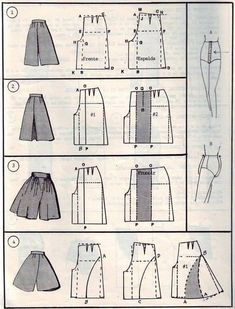 Transform Skirt To Culottes Pattern. Also Many Skirts With Pattern Drafts. Sewing Pants, Sewing Clothes, Diy Clothes, Barbie Clothes, Sewing Coat, Fashion Sewing, Diy Fashion, Ideias Fashion, Fashion Today