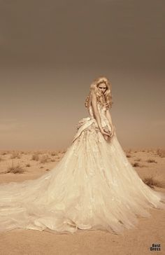 Full-Skirted Off-White Gown by Shady ZeinEldine 2012