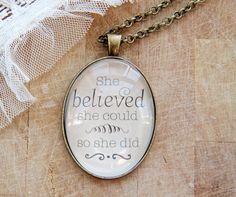 believe Vintage Oval Pendant by Lousje, $20.00