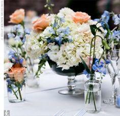 White, Blue & Peach Centrepieces
