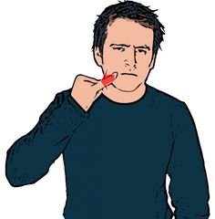 Swear Description: Extended little finger of closed hand starts on corner of mouth and moves forwards sharply. Definition: To use profane or obscene language. Sign Language Basics, Sign Language Phrases, Sign Language Alphabet, Learn Sign Language, Body Language, British Sign Language Dictionary, American Sign Language, English Language, Learn Bsl