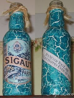 Retro decoupage bottle by Ayadeco.pl, via Flickr