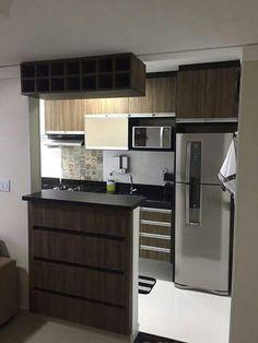 Cozinha Kitchen Room Design, Home Room Design, Kitchen Sets, Kitchen Interior, Kitchen Decor, Small Modern Kitchens, Small Apartment Kitchen, Small Space Interior Design, Kitchen Cabinetry