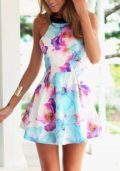 Multicolor Flowers Print Backless Sleeveless Dress - Mini Dresses - Dresses