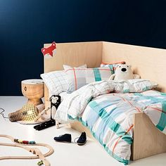Embrace cosy cotton comfort and modern colour in their bedroom with the Blanky Flannelette Quilt Cover Set, Blue from Hiccups.