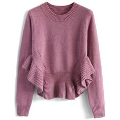 Chicwish Adorable Frilling Hemline Sweater in Violet (5690 RSD) ❤ liked on Polyvore featuring tops, sweaters, purple, purple ruffle top, acrylic sweater, ruffle hem top, ruffle sweater and cut out tops