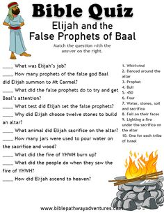 Printable bible quiz - Elijah and the false prophets of Baal