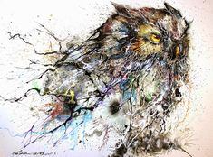 Gorgeous Owl Illustration Created with Lively Splatters of Paint