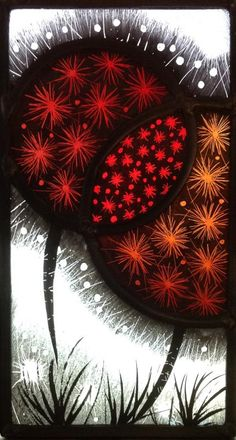 Red allium see. Stained Glass Paint, Stained Glass Flowers, Stained Glass Designs, Stained Glass Panels, Stained Glass Projects, Fused Glass Art, Stained Glass Patterns, Mosaic Glass, Refraction Of Light