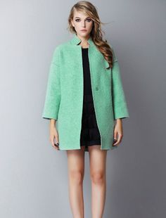 Blue Long Sleeve Stand Collar Loose Coat - Fashion Clothing, Latest Street Fashion At Abaday.com