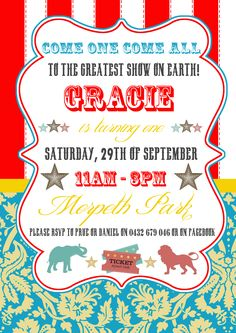 Circus themed invite