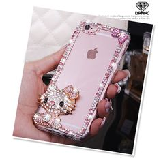 Bling Rhinestone Bow Cat Hello Kitty Fundas Back Phone Case Cover for Samsung Edge Note 3 4 5 iPhone SE Plus Case Girly Phone Cases, Cell Phone Covers, Iphone 5s, Iphone Cases, Hello Kitty Merchandise, Hello Kitty Items, Rhinestone Bow, Hello Kitty Wallpaper, Bling