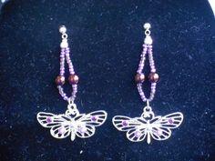 Amethyst butterfly post earrings by CJhandmadeJewelry on Etsy