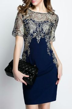 $67.99 Dark Navy Sheer Sleeves Embroidered Dressproducts_id:(1000012594 or 1000012951 or 1000012274 or 1000012320)