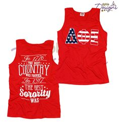 America Themed Tank Top!! In 1917 the best sorority was founded!! Delta Phi Epsilon! Start a custom chapter order with us today!