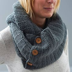 eka Knitted Button Detail Snood