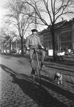 Væltepeter på Christianshavn, på tur langs kanalen med sin hund