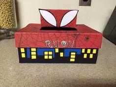 Spider man Valentine shoe box with city skyline.