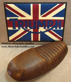 Triumph Scrambler Custom Seats made for comfort with orthopedic memory foam and Pro Pad gel inserts, leather covers, custom foam shaping and custom top stitching. Triumph Scrambler Custom, Tw 125, Saddles, Leather Cover, Motorbikes, Memory Foam, Rat, Brown, Derby