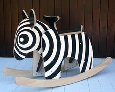 Rocking Zebra by newmakers: Made from a combination of solid beech timber and beech plywood. Supplied flat packed, easily assembled at home. #Toys #Rocking _Zebra #newmakers