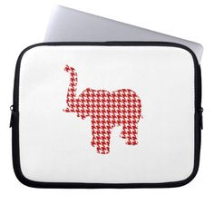 Red Houndstooth Elephant Computer Sleeves