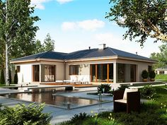 Projekt domu SD Acapulco A CE - DOM - gotowy koszt budowy Bungalow House Design, Outside Living, New House Plans, Home Fashion, House Colors, My Dream Home, Future House, New Homes, Sweet Home