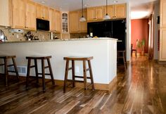 Asian Walnut Hardwood Flooring Eclectic Kitchen with Dark Wood Floors