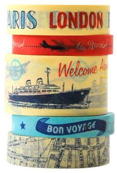 Paper tape vintage travel Cavallini - Postpapier enzo