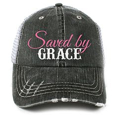 Saved by Grace hat for women and teens girls. Spiritual and biblical message hat for Christians. Grace and faith message of love and hope.